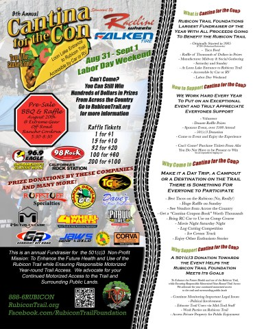 2013 RTC CFC Flier v21 372x480 Everyone Who Recreates on the Rubicon Trail Should Support the 9th Annual Cantina for the Con This Weekend