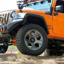 Rugged Ridge Drakon Wheel Installed on JK Jeep Wranger - Front Driver 3q
