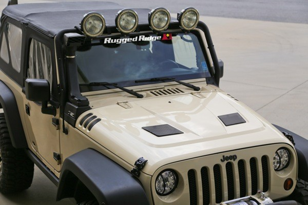 Rugged Ridge Performance Vented Hood Installed RUGGED RIDGE INTRODUCES ALL NEW PERFORMANCE VENTED HOOD FOR '07 '14 JEEP® JK WRANGLERS