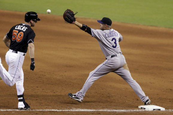Michael Cuddyer playing 1B for the Rockies (AP)