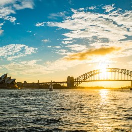 Harbour bridge in the sunset