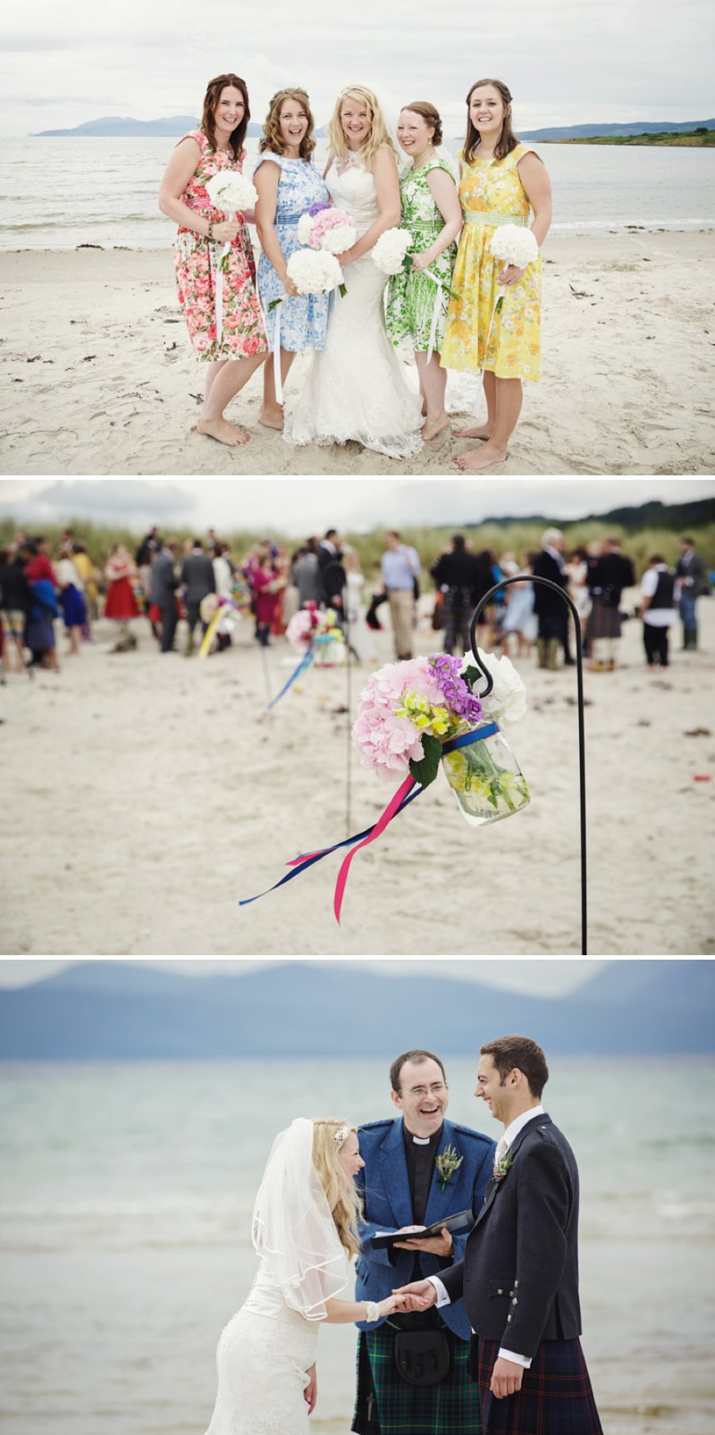Rustic Scottish Beach Wedding With Bride In Justin Alexander And Vivien Of Holloway And Groom In Kilt With Bridesmaids In 50s Style Gowns With A Traditional Scottish Ceilidh 1 One Jolly Scottish Wedding.