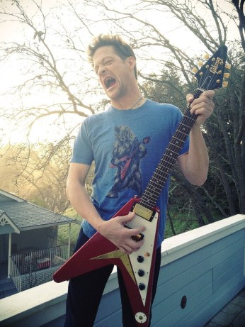 "Newsted goofing for the camera at ""The Chopshop"""