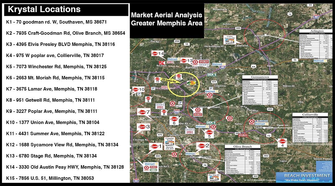 Krystal Locations – Aerial Map of Memphis
