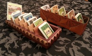 Leather and wood card sorters