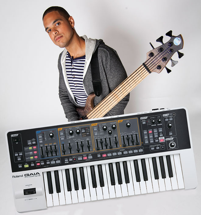 "Bassist Robert ""Bubby"" Lewis with the Roland GAIA SH-01"
