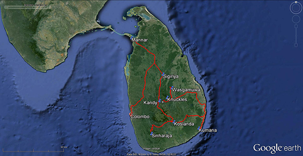 Map of locations surveyed on the #ROMSriLanka expedition.