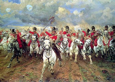 """Scotland for ever!""  Lady Butler's iconic picture of the Charge of the Royal Scots Greys, 2nd Dragoons, as part of the Union Brigade at the Battle of Waterloo."