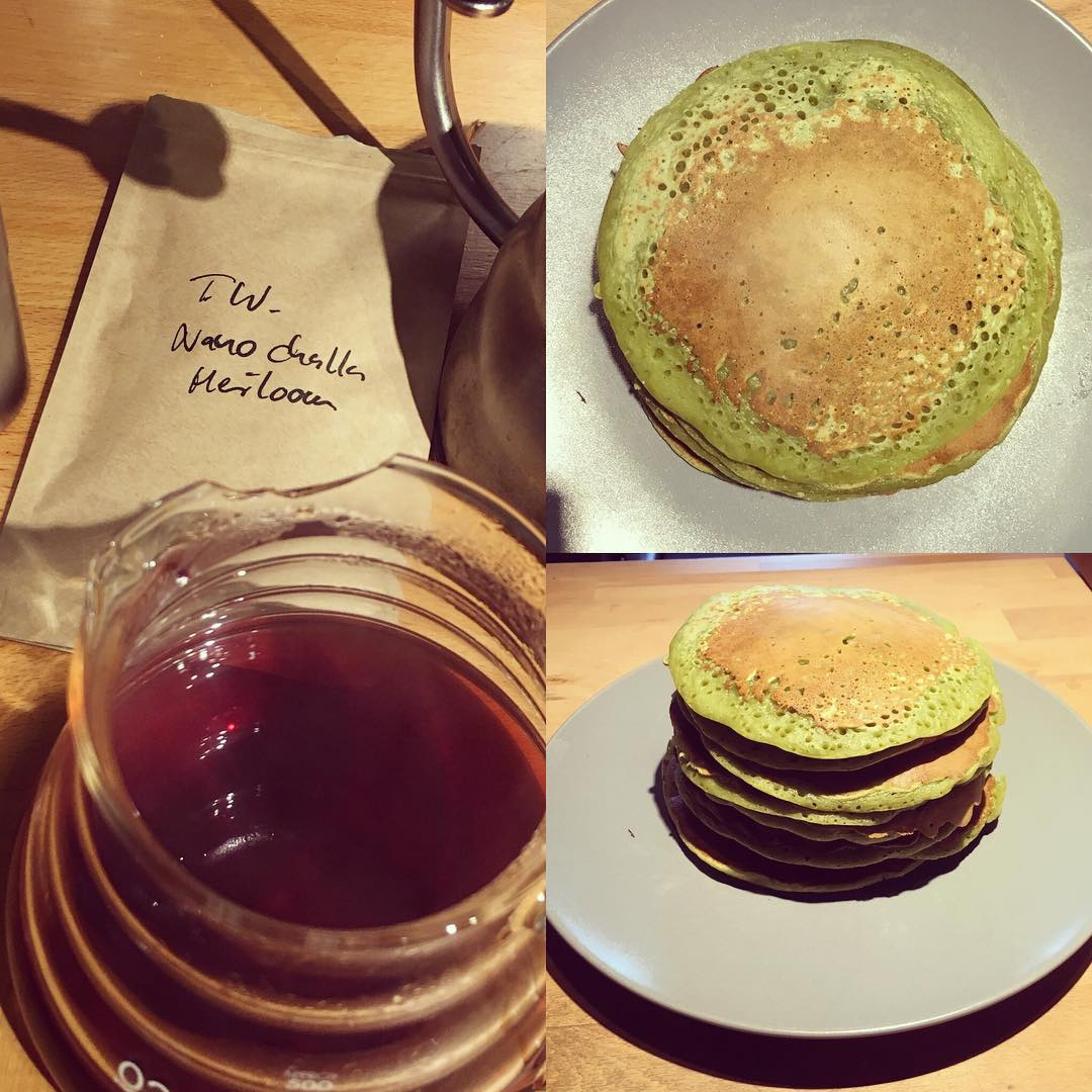 Vegan Matcha Pancakes FTW plus @timwendelboe in #v60 and Netflix - chillaxing ?✌?️ ?