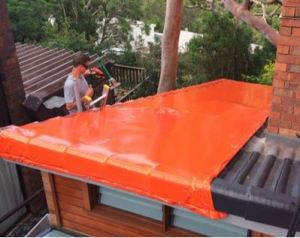Australian invention Stormseal super seals buildings and roofs damaged by storms or left open during construction.