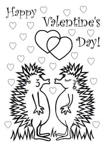 Valentine's Day Hedgehogs Colouring