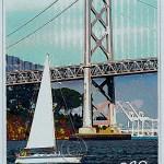poster of San Francisco Bay, sail boat and Oakland Bay Bridge