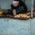 Fergana Valley, Uzbekistan Streetside dumpling baker