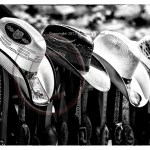 Cowboy hats hang in an outdoor market in California