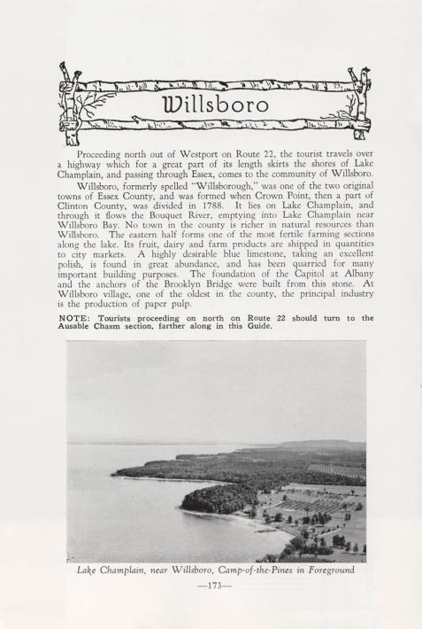 Feature on Willsboro, NY in 1949 Adirondack Guide. (Source: Adirondack Guide via David Brayden)