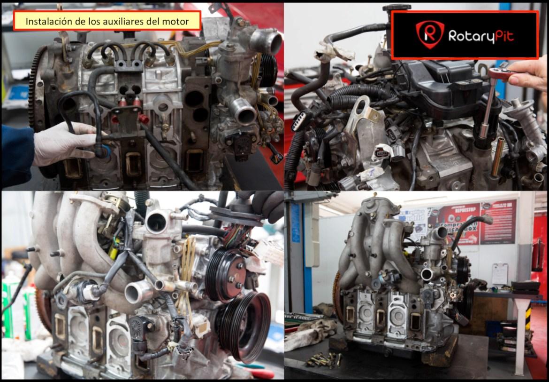 Reconstrucción rebuild motor Renesis instalación auxiliares motor RX8 RX7 jird20 RotaryPit