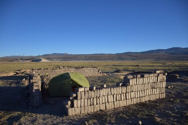 Camp in old llama pen