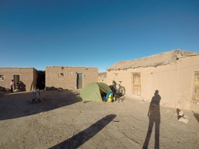 Camp in farm courtyard