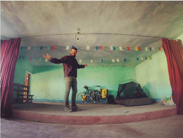 camping on a stage