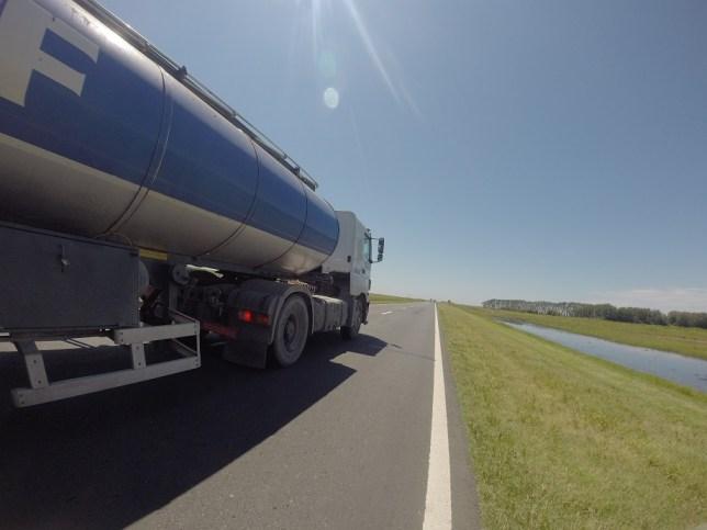 Big trucks, no shoulder