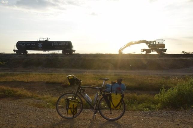rail equipment at sunrise