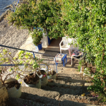 Steps from the barbers leading to the mosque Gumusluk Bodrum Turkey