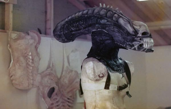 Alien head on mannequin