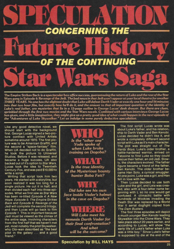 Speculation Concerning the Future History of the Continuing Star Wars Saga - Fantastic Films Dec 1980