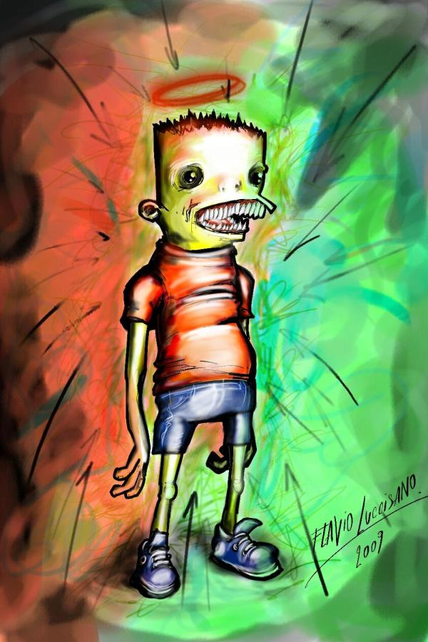 Creepy Bart Simpson by Flavio Luccisano