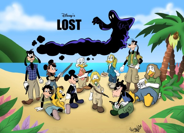 Lost Starring Disney Characters - TV Fanart - Mickey Mouse, Donald Duck, Pluto