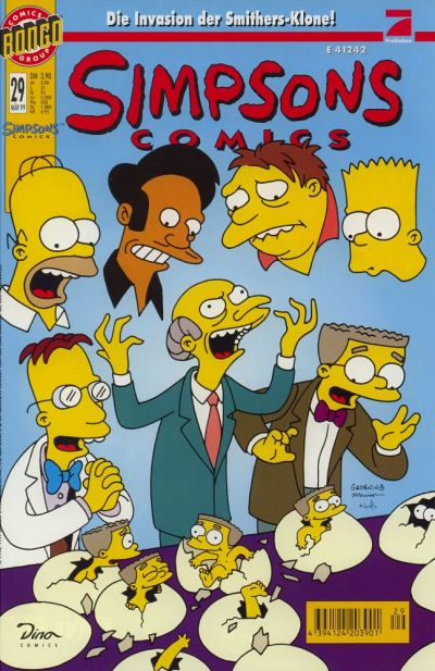 Simpsons Comics 29 Cover - Bart, Homer, Barney, Mr. Burns, Smithers, Apu, Professor Frink