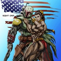 Boba Fett &amp; Bodybuilder Slave Leia - creepy, weird, star wars, fanart, illustration