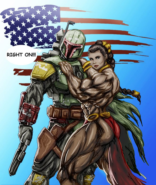 Boba Fett & Bodybuilder Slave Leia - creepy, weird, star wars, fanart, illustration