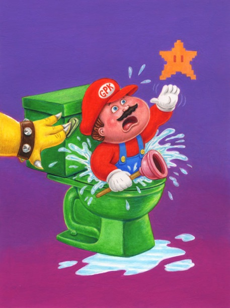Garbage Pail Kids x Super Mario Bros mashup, Luigi, nintendo, gaming, video games