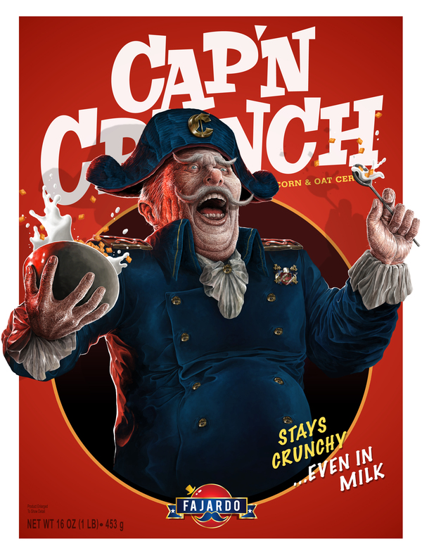 Cap'n Crunch by Guillermo Fajardo - Creepy Realistic Cereal Art