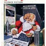 4-Armed Interstellar Santa Claus - Galaxy Vintage Sci-Fi Magazine Cover