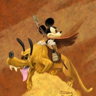 Mickey Mouse and Pluto in the Style of Frank Frazetta by John T. Quinn
