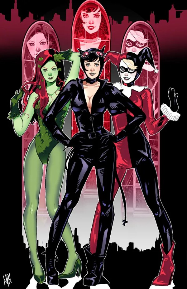 DC Dames: Poison Ivy, Catwoman, Harley Quinn - gotham city sirens, dc comics, batman art