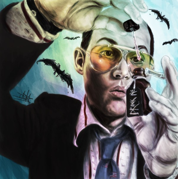 Drink Me: Fear and Loathing in Las Vegas Painting by TheTanyaDoll - Hunter S. Thompson, Johnny Depp