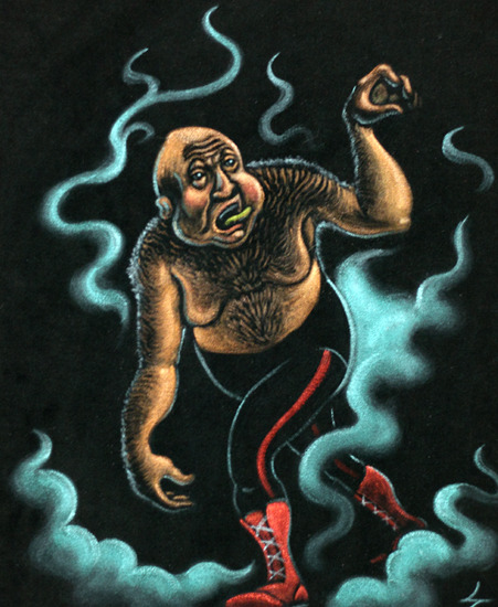 George The Animal Steele Velvet Painting by Steven Grice