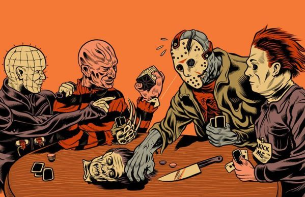 Pinhead, Michael Myers, Jason Voorhees and Freddy Krueger playing poker by Ray Frenden