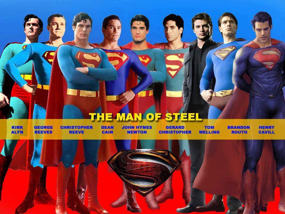 Nine versions of Superman as portrayed by Kirk Alyn, George Reeves ...
