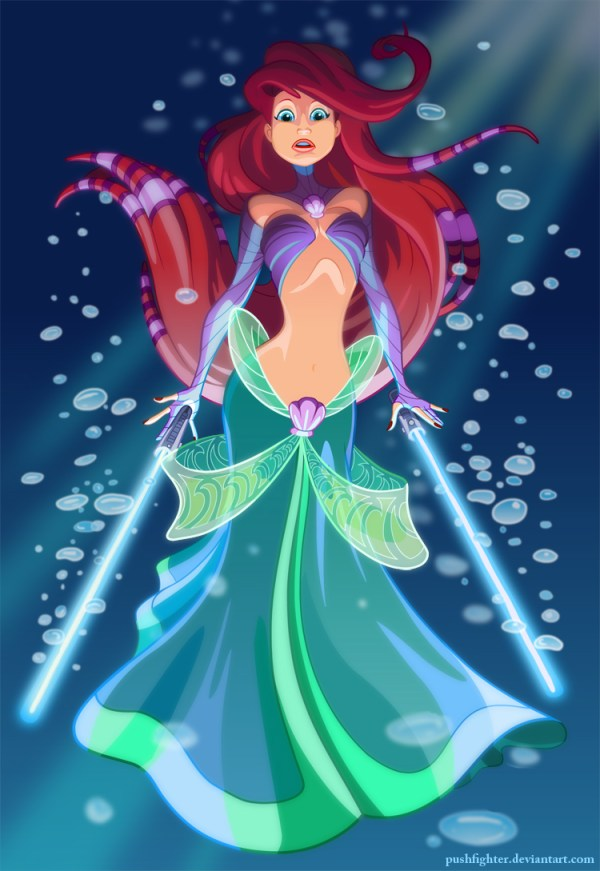 Jedi Ariel by Pushfighter - Disney Star Wars Princesses - Little Mermaid