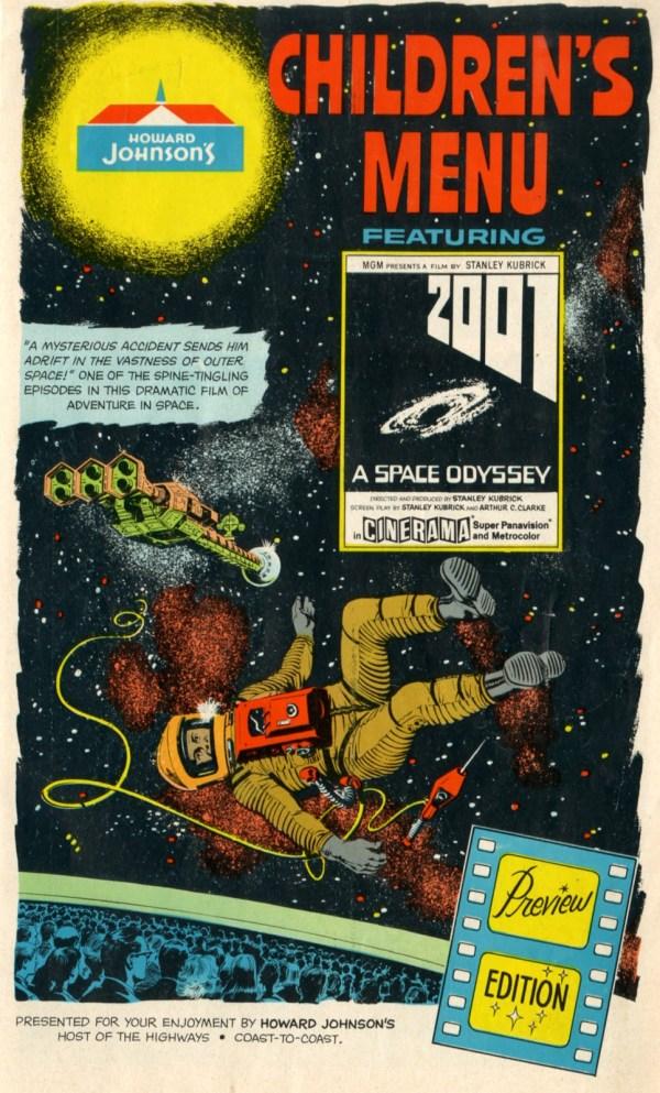 2001 A Space Odyssey Howard Johnsons Children's Menu (1968) - Stanley Kubrick - Arthur C. Clarke