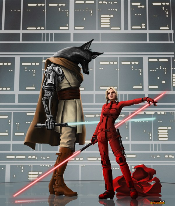 Darth Red Hood by David Ramon - LIttle Red Riding Hood x Star Wars Jedi - Big Bad Wolf - Reimagined Fairy Tale Illustrations