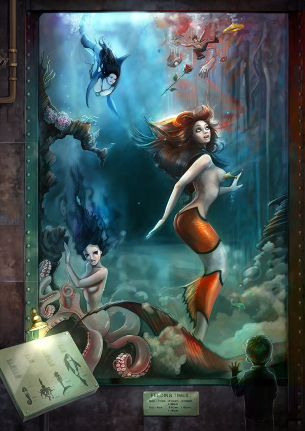 Little Mermaid Feeding Time by Caroline Vos - Ariel - Reimagined Fairy Tale Illustrations