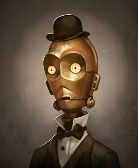 Metal Man - Victorian C-3PO - Steampunk Star Wars Art by Greg Peltz