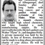 Breaking Bad: Walter White Obituary in Albuquerque Newspaper
