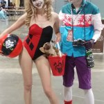 Harley Quinn in swimsuit and Joker in Killing Joke Hawaiian Shirt