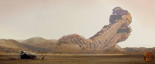 Satellite of Love and Widowmaker from Mystery Science Theater 3000 crashed on Jakku from Star Wars: The Force Awakens